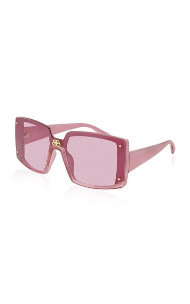 Balenciaga Shield Oversized Square-Frame Sunglasses in pink