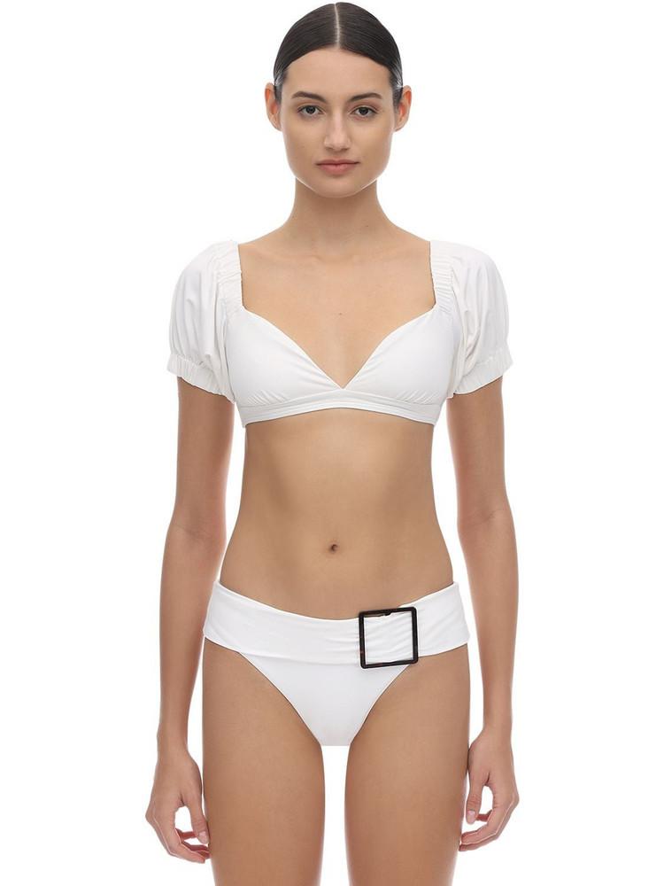 ONIA X WEWOREWHAT Moe Bikini Top With Short Sleeves in white