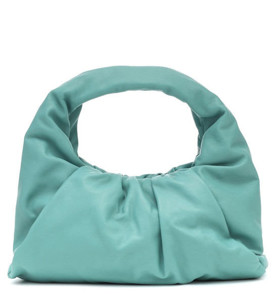 Bottega Veneta The Shoulder Pouch Small leather tote in turquoise