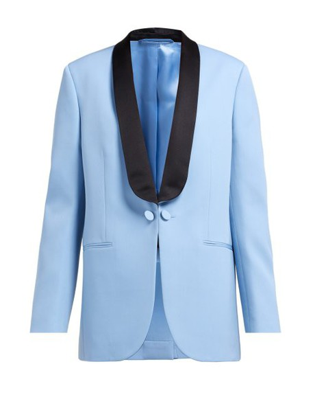 Calvin Klein 205w39nyc - Silk Satin Lapel Wool Tuxedo Jacket - Womens - Blue Multi