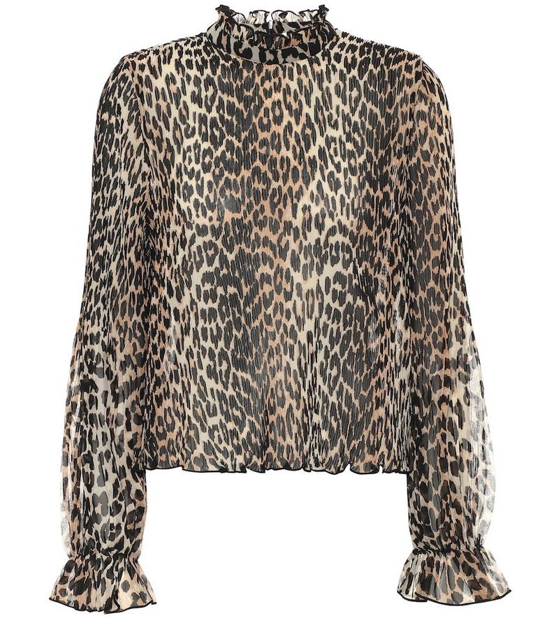 Ganni Leopard-print georgette blouse in beige