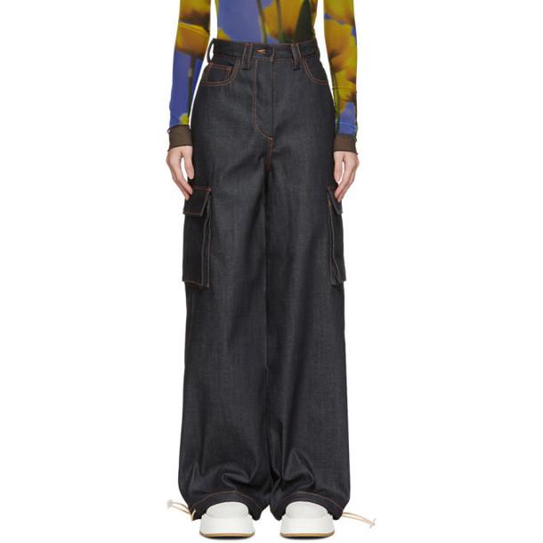 Sunnei Navy Denim Cargo Jeans