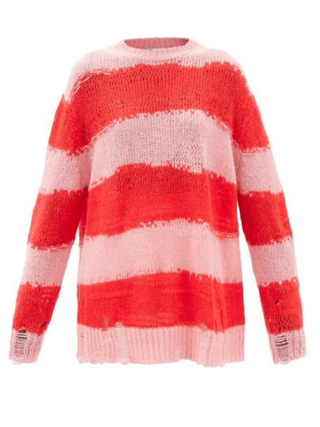 Acne Studios - Kalia Striped Distressed-knit Sweater - Womens - Pink Stripe