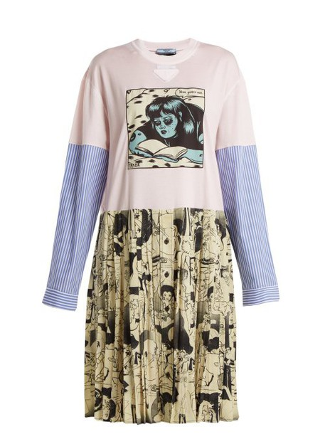 Prada - Comic Print Cotton Jersey And Silk Dress - Womens - Pink Multi