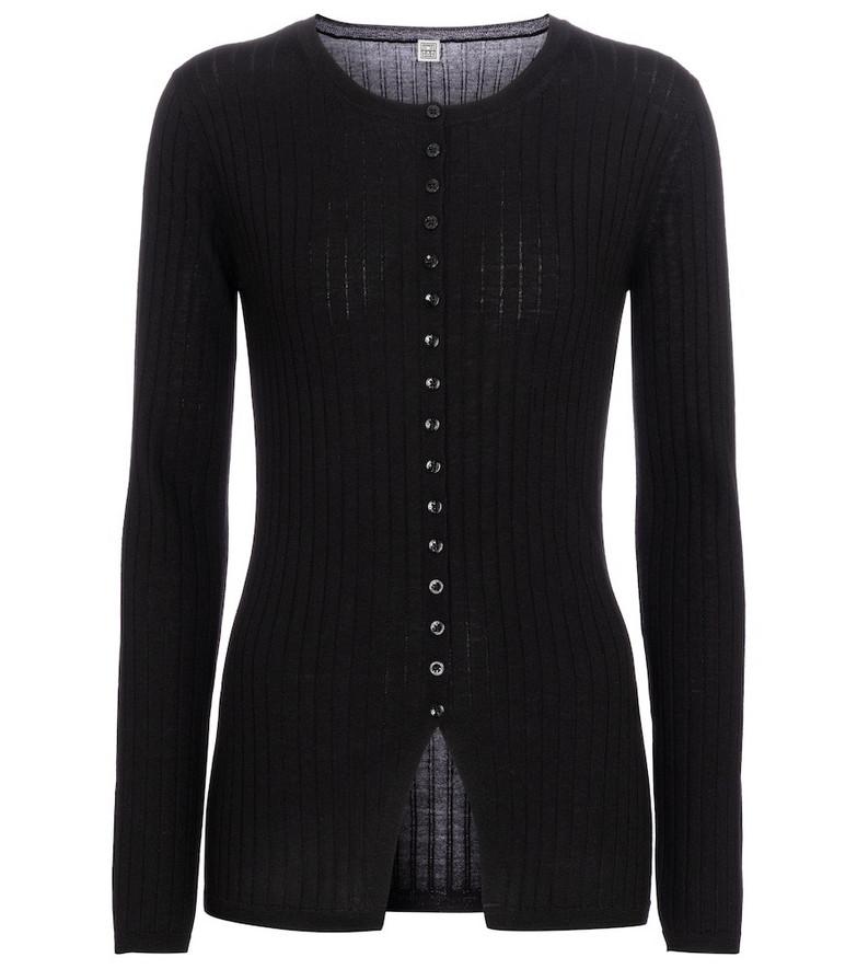 Toteme Ribbed-knit merino wool cardigan in black