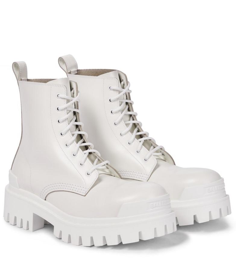 Balenciaga Strike leather combat boots in white