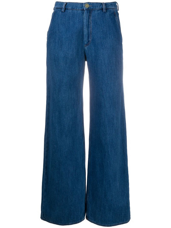 Forte Forte wide-leg flared trousers in blue
