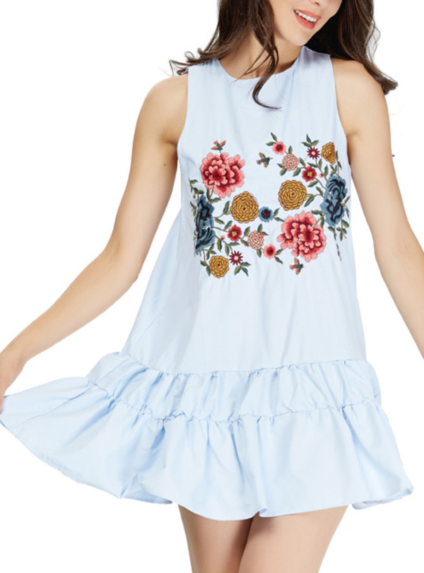 dress floral embroidered tunic summer sleeveless spring break holidays sunday sundress
