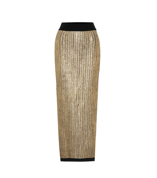 Balmain High-rise lamé midi skirt in gold