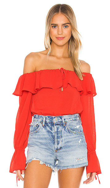 House of Harlow 1960 x REVOLVE Vada Bodysuit in Red