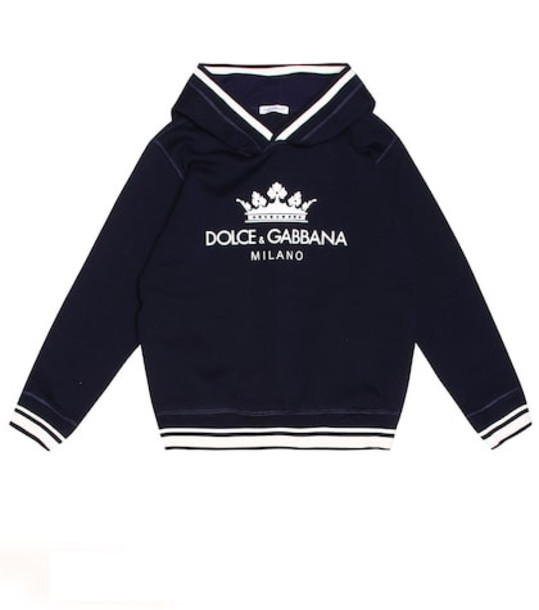 Dolce & Gabbana Kids Logo cotton-blend hoodie in blue