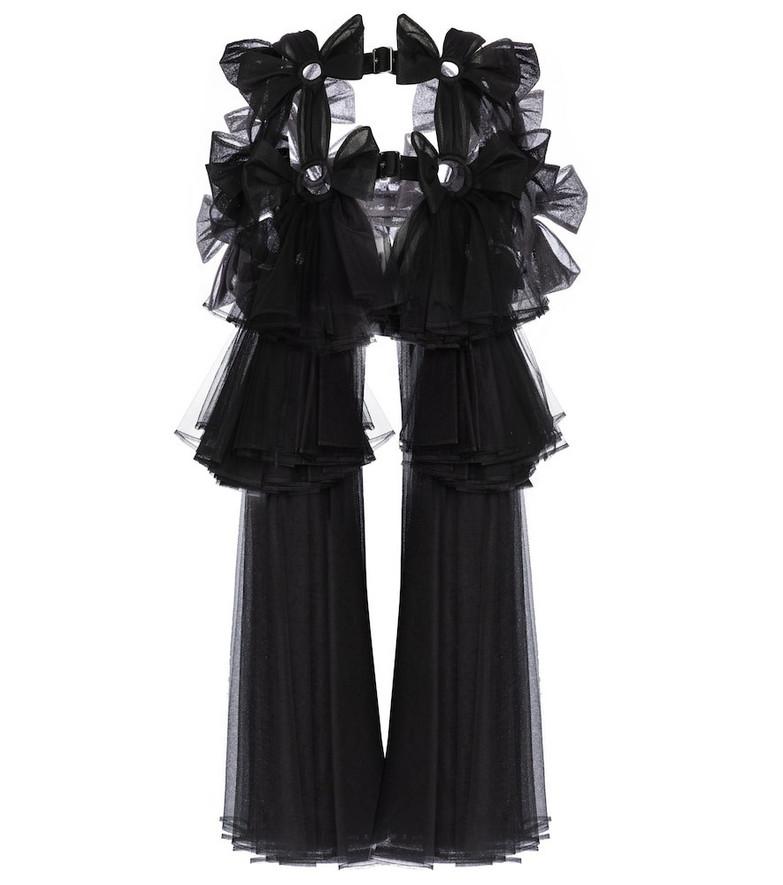 Noir Kei Ninomiya Belted tulle midi dress in black