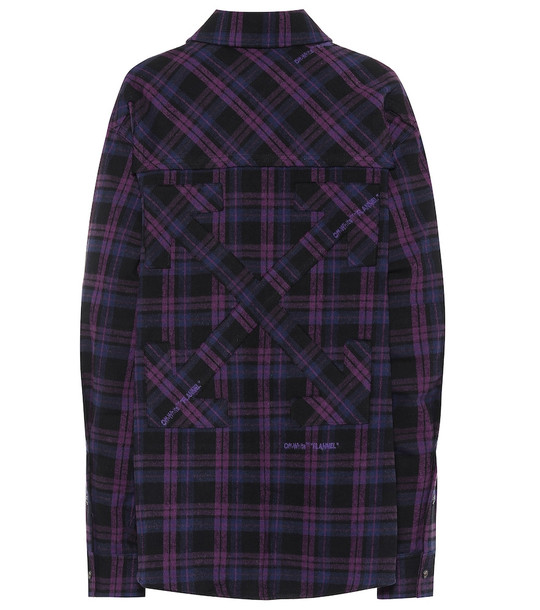 Off-White Checked cotton-blend flannel shirt in purple