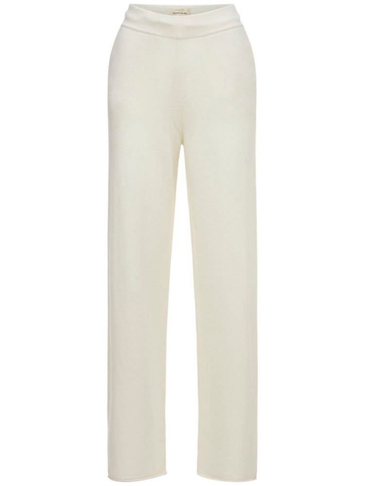 LOULOU STUDIO Tioman Cashmere Knit Flared Pants in ivory