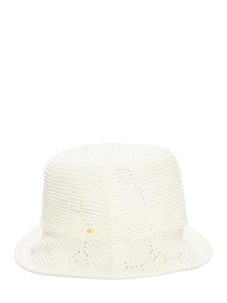 GUCCI Gg Cable Knit Crochet Fedora Hat in ivory