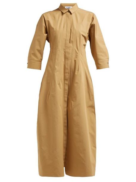 Jil Sander - Garden Cotton Poplin Shirt Dress - Womens - Brown