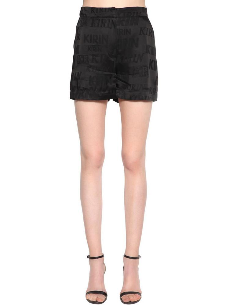 KIRIN Typo Logo Fluid Satin Jacquard Shorts in black