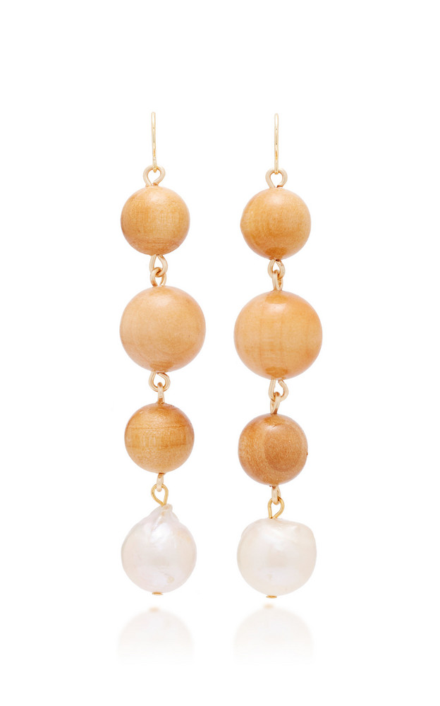Sophie Monet Lilith Gold-Plated, Pine And Pearl Earrings in multi