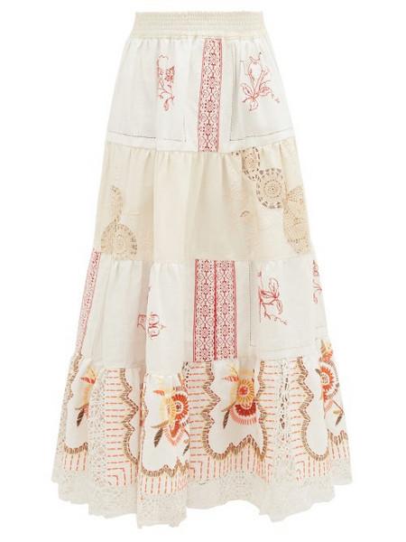 Rianna + Nina Rianna + Nina - Vintage Kendima Volant Embroidered Cotton Skirt - Womens - White Multi