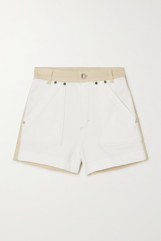 CHLOÉ CHLOÉ - Two-tone Denim Shorts - Off-white
