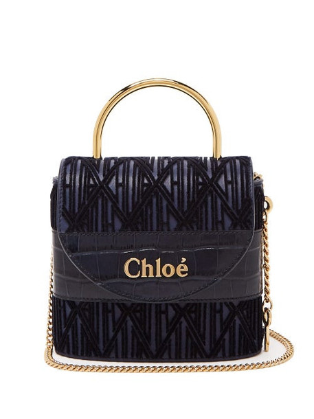 Chloé Chloé - Aby Lock Medium Monogram Leather Bag - Womens - Blue
