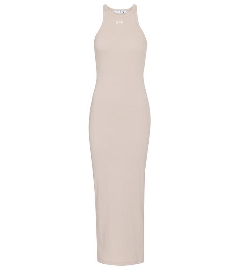 Off-White Logo stretch-cotton midi dress in beige