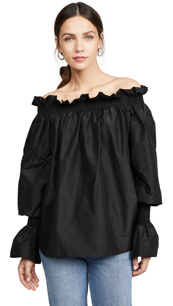 Adam Lippes Taffeta Off shoulder Top in black