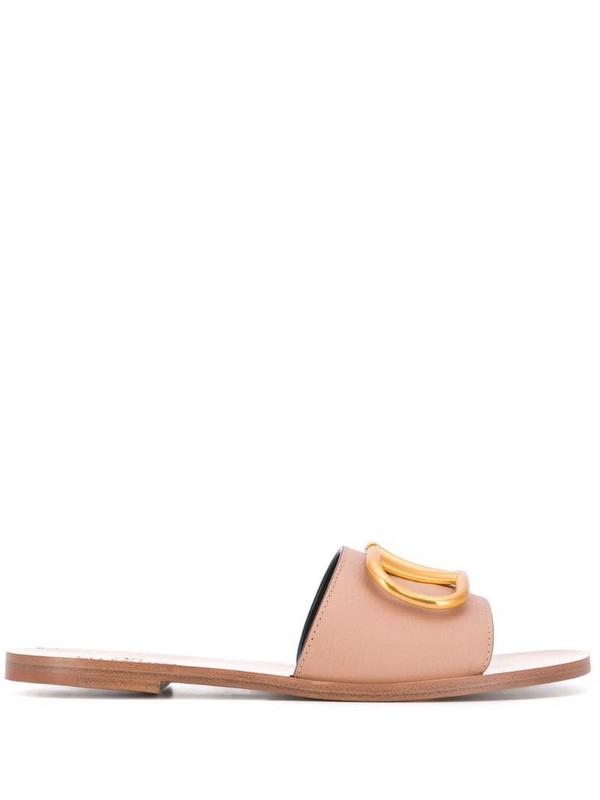Valentino Garavani VLOGO slip-on sandals in neutrals