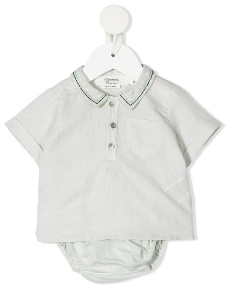 Bonpoint polo shirt romper - Green