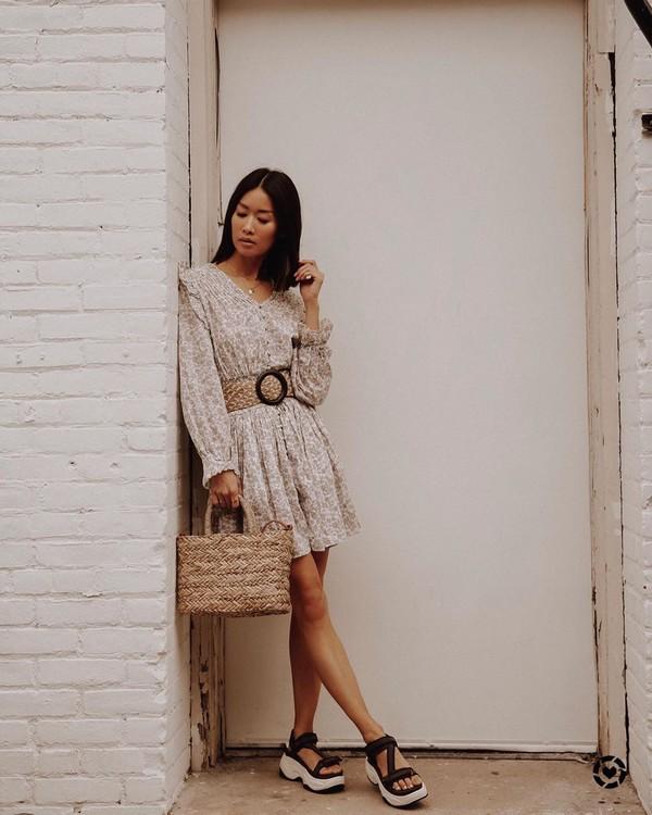 dress mini dress floral dress long sleeve dress woven bag platform sandals