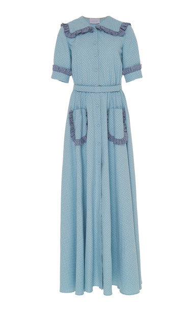Luisa Beccaria Belted Cotton Maxi Dress in blue