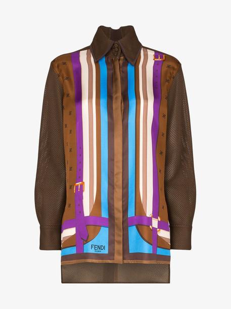 Fendi stripe print silk shirt