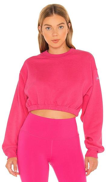 alo Devotion Crew Neck Pullover in Fuchsia in pink