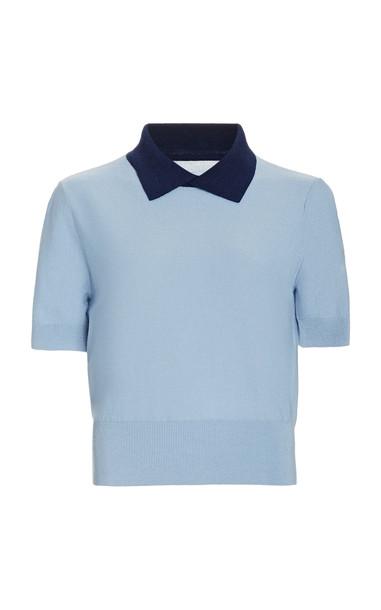 Staud Acorn Knit Contrast Collar Sweater in blue