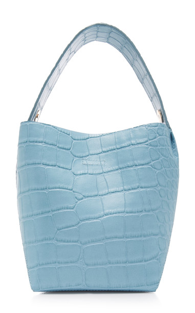 IMAGO-A Croc-Embossed Leather Bucket Bag in blue