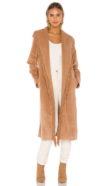 Line & Dot Linda Fringe Coat in Tan