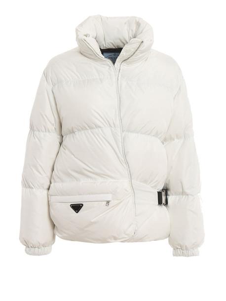 Prada Down Jacket Nylon in nero / bianco