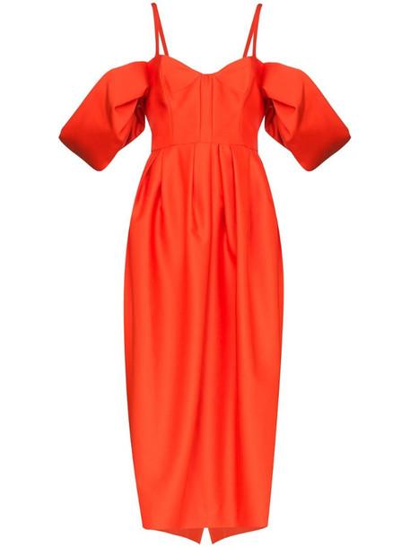 Rosie Assoulin puff sleeve midi dress in orange
