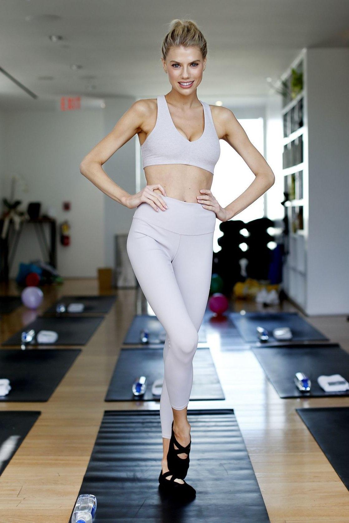 pants charlotte mckinney celebrity sports bra sportswear sporty leggings