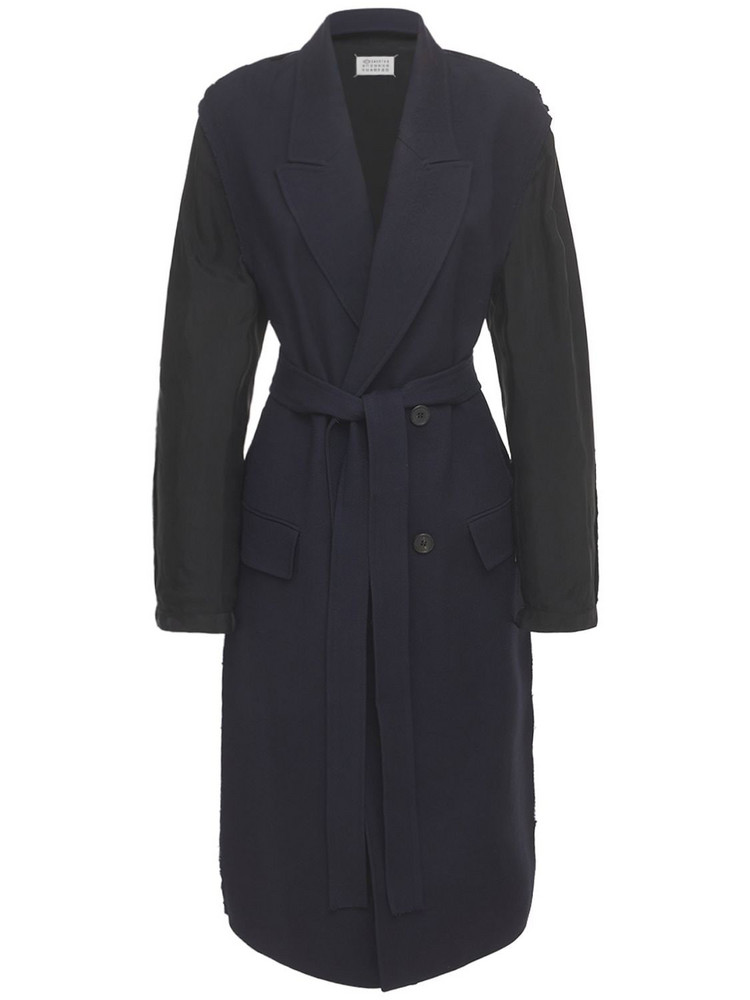 MAISON MARGIELA Wool Gabardine Double Breast Trench Coat in navy