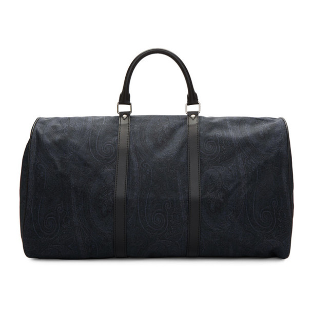 Etro Blue Paisley Travel Duffle Bag