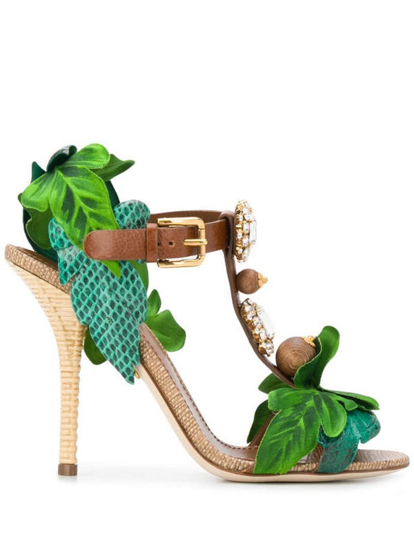 Dolce & Gabbana Keira leaf appliqué bejewelled sandals in green