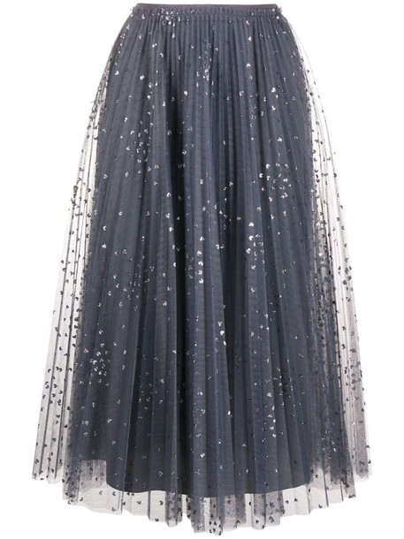 RedValentino glitter detailing pleated skirt in grey