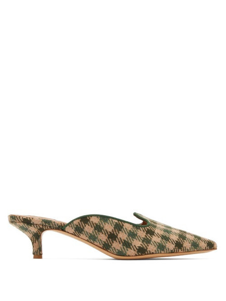 Giuliva Heritage Collection - X Le Monde Beryl Checked Kitten Heel Mules - Womens - Green Multi