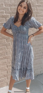 dress,it is blue with white cheetah