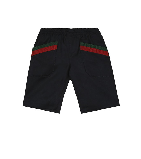 Gucci Kids Cotton-twill shorts in blue