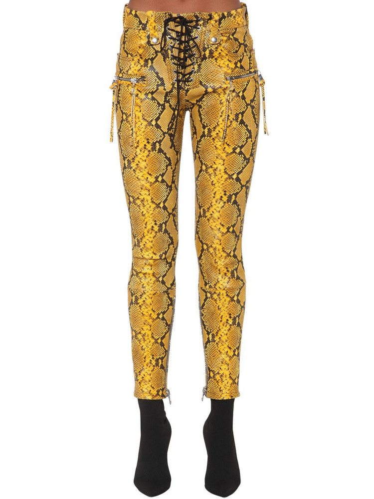 UNRAVEL Python Printed Leather Lace Up Pants in yellow