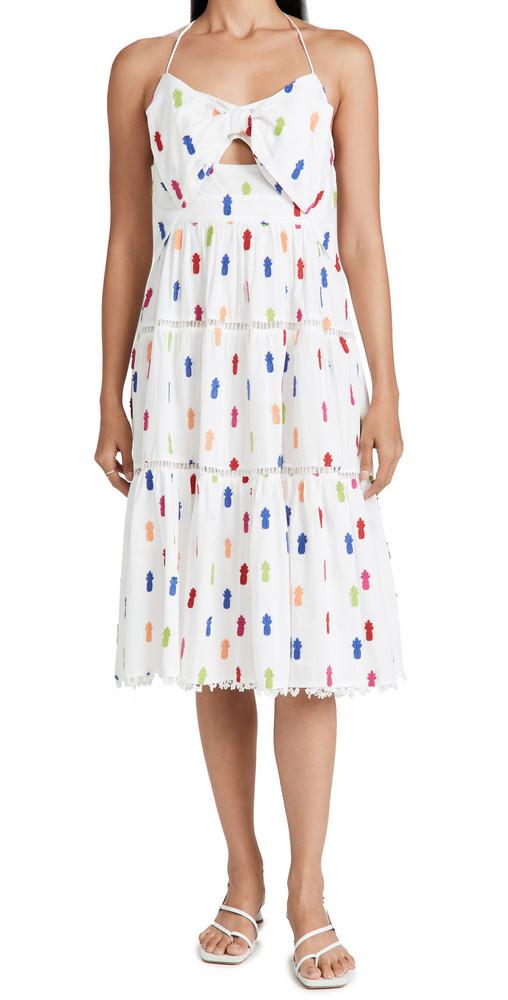 FARM Rio Multicolor Pineapple Midi Dress in white