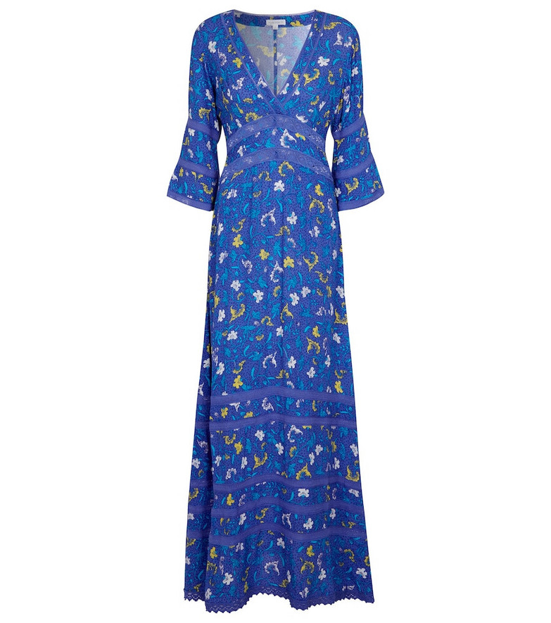 Poupette St Barth Exclusive to Mytheresa – Capri floral crêpe maxi dress in blue