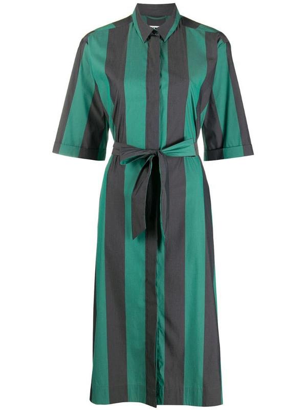 YMC striped tie-waist shirt dress in green